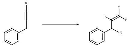 [Translate to Français:] Katalytische Reduktion eines Alkines mit Tritiumgas