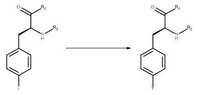 Dehalogenation of 4-Iodo-L-Phenylalanine with Tritium Gas
